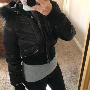 NWOT Bebe Jacket with Faux Fur Hood
